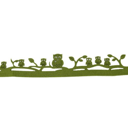 1 Meter Filz Tischband Bordüre Eulen in Olivgrün