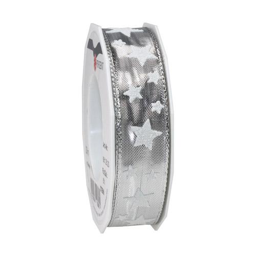 20-meter-tischband-geschenkband-stern-in-silber-wei-25-mm