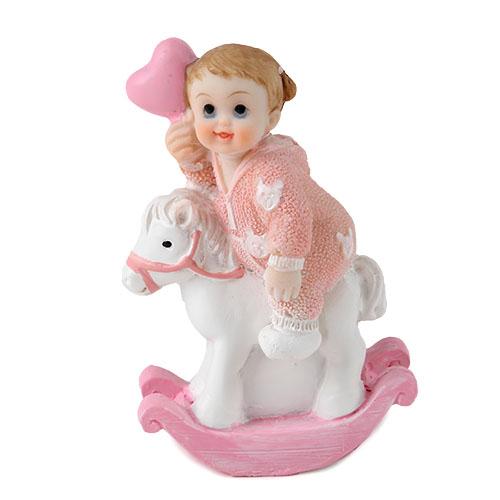 deko baby m dchen herzluftballon auf schaukelpferd in rosa