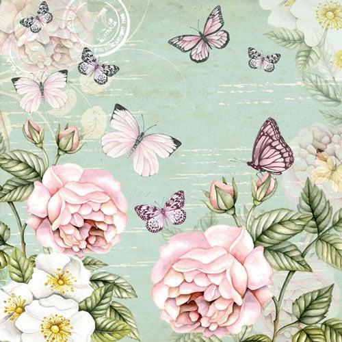 20er Pack Servietten Vintage Schmetterlinge, 33 x 33 cm ...
