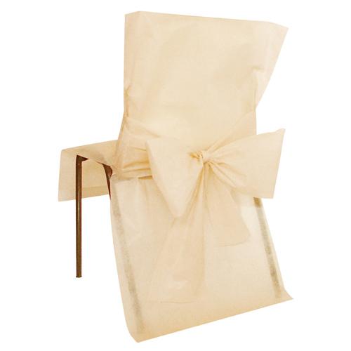 10-einweg-stuhl-hussen-mit-schleife-in-creme-aus-vlies