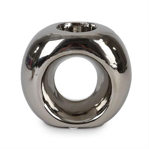 Keramik teelichthalter ring in silber 11 cm tafeldeko for Dekosteine rund