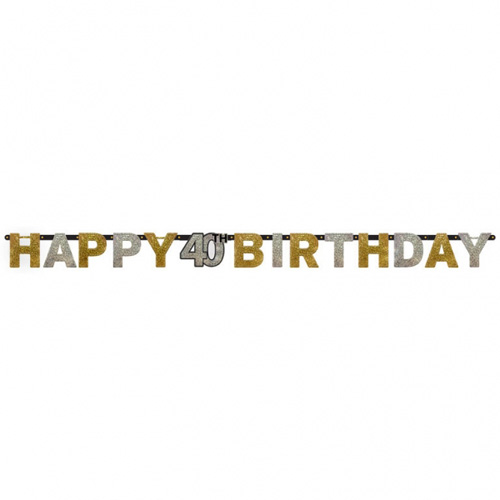 2 Meter Glimmer Partykette Geburtstag -Happy 40th Birthday-