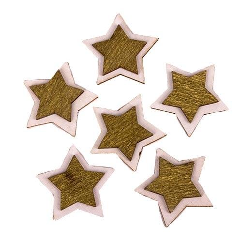 6-holz-streuteile-weihnachten-sterne-in-wei-gold-35-mm, 1.55 EUR @ tafeldeko-de