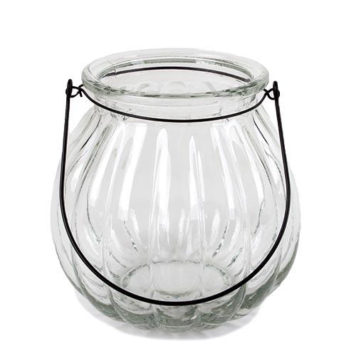 gro es glas windlicht vase mit henkel in klar 18 cm. Black Bedroom Furniture Sets. Home Design Ideas