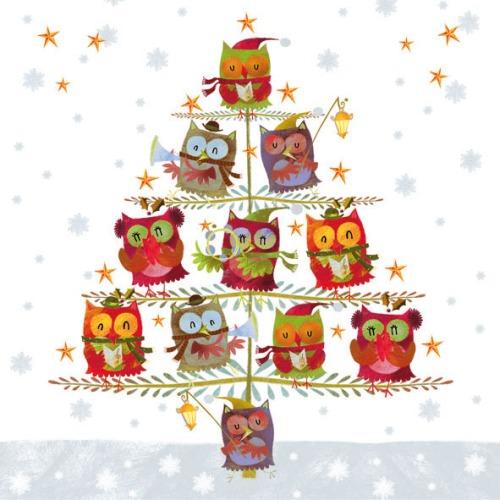 20er-pack-servietten-eulen-weihnachtschor-christbaum-33-x-33-cm