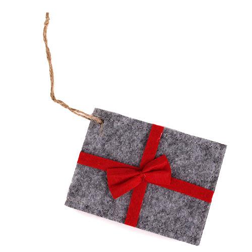 filz anh nger geschenk f r geldgeschenke in grau mit roter schleife 10 cm. Black Bedroom Furniture Sets. Home Design Ideas