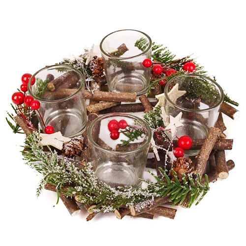 adventskranz-weihnachtszauber-rot-grun-fur-4-teelichter-22-cm