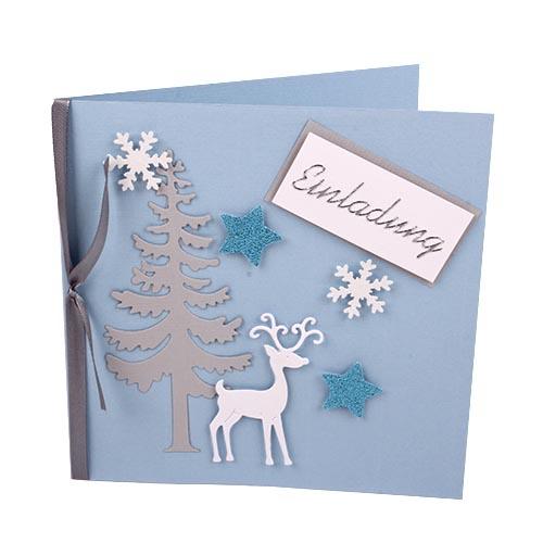 einladungskarte weihnachten rentier in hellblau. Black Bedroom Furniture Sets. Home Design Ideas