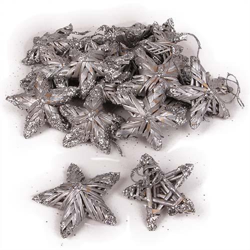 20 Stroh Sterne Christbaumschmuck In Silber 50 Mm Tafeldeko De