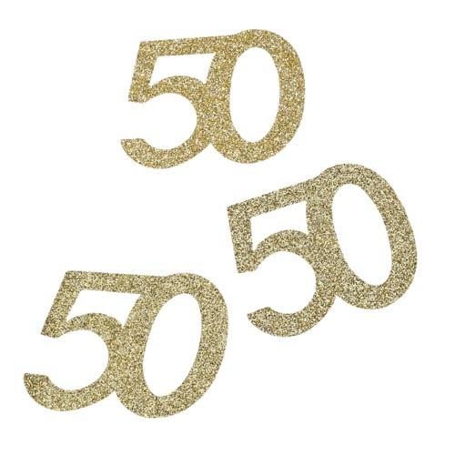 10 Streuteile Jubiläumszahl 50 In Gold Glitzernd 50 Mm