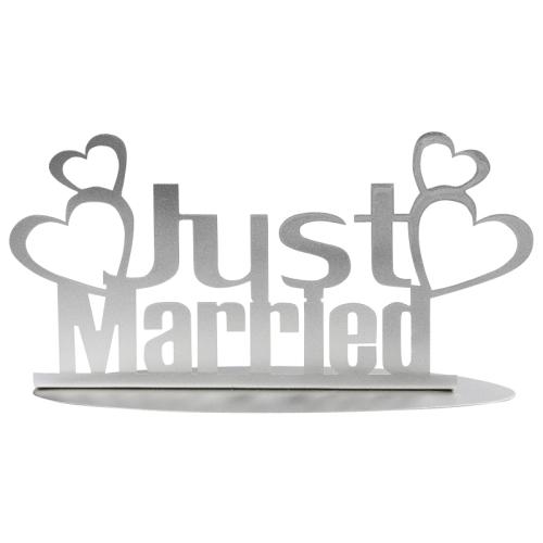 Metall Aufsteller Hochzeit Just Married Mit Herzen In Silber 20