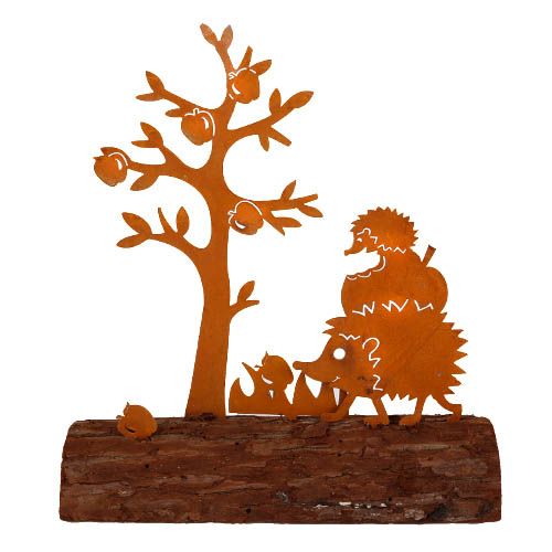 igel-und-apfelbaum-naturrost-auf-baumstamm-19-cm