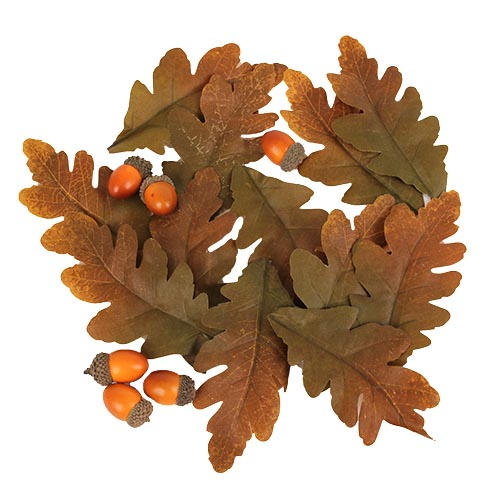 18 Tlg Herbst Streudeko Set Eichenlaub Und Eicheln In