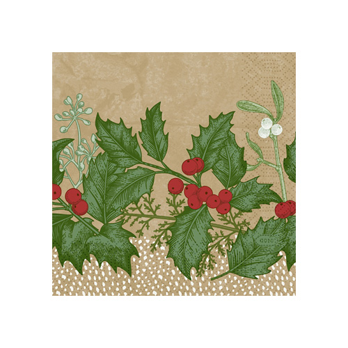 Duni Zelltuch Cocktail-Servietten Snowy Berries, 24 x 24 cm