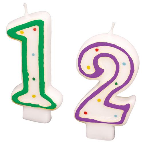 Zahlenkerzen 0 bis 9 in verschiedenen Farben