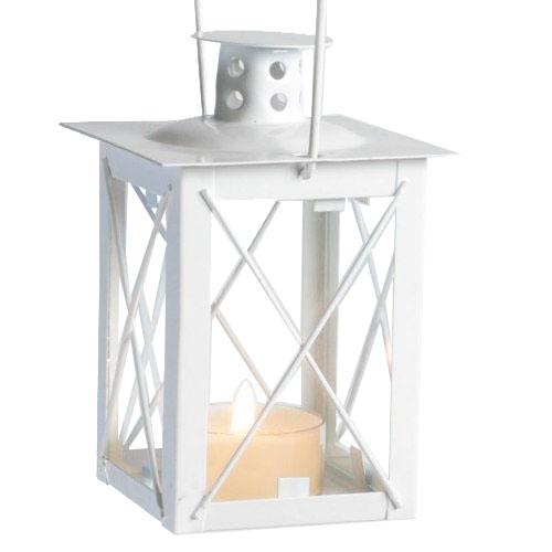 Garten oder Tischdeko Metall Laterne in Weiß
