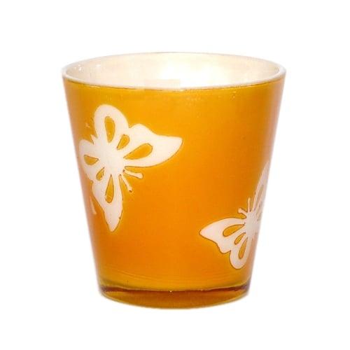 Teelichtglas mit Schmetterlingmuster in Orange