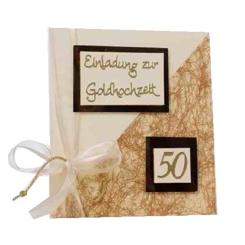Einladungskarte Goldene Hochzeit Tisch 4 Champagner Dune