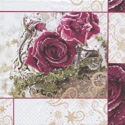 20er pack servietten frozen roses 33 x 33 cm - Duni weihnachtsservietten ...