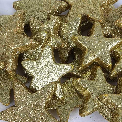 24 weihnachtsdeko glitzer sterne in gold 40 50 mm. Black Bedroom Furniture Sets. Home Design Ideas