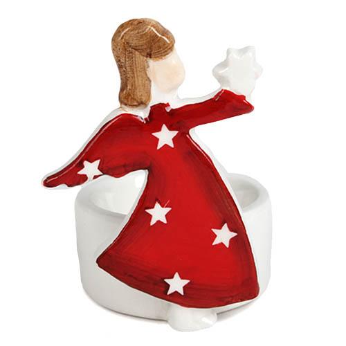 keramik teelichthalter weihnachten engel mit stern in rot. Black Bedroom Furniture Sets. Home Design Ideas