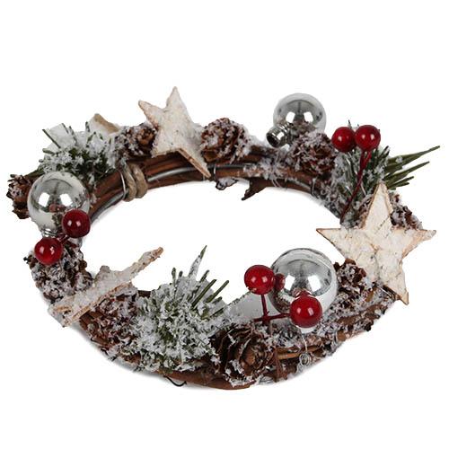 kerzenkranz weihnachten mit kunstschnee schlaufe zum