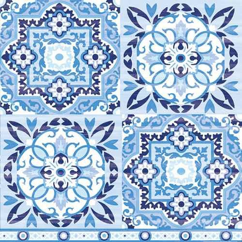 20er Pack Servietten Retro Ornament Fliesen in Blau, 33 x 33 cm.