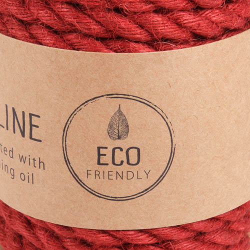 5 Meter Sizo®Jute Kordel in Rot, 7 mm.