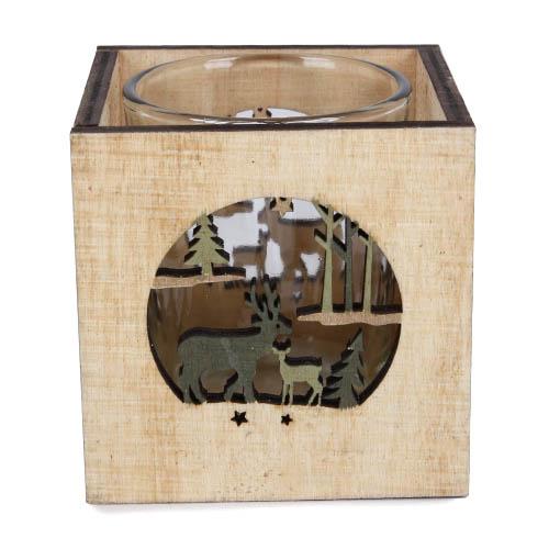 Holz Windlicht Mit Teelichtglas Hirsch Mit Kitz 70 Mm