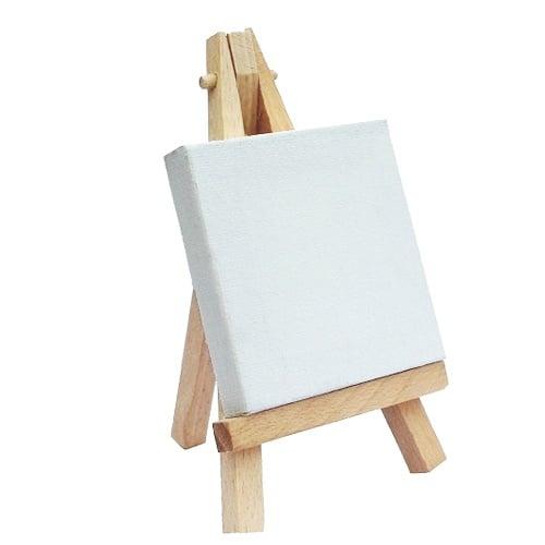 staffelei aus holz mit leinwand zum beschriften als tischkarte. Black Bedroom Furniture Sets. Home Design Ideas
