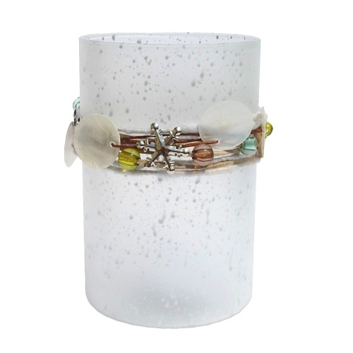 windlicht mit perlen und kordel in wei ebay. Black Bedroom Furniture Sets. Home Design Ideas