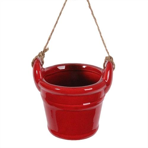 deko keramik eimer zum aufh ngen in rot. Black Bedroom Furniture Sets. Home Design Ideas