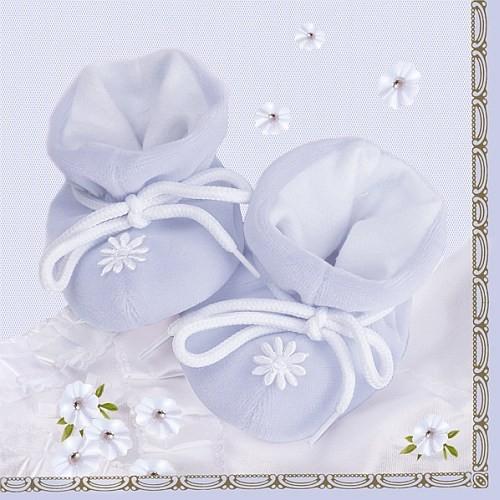 20er Pack Taufe Servietten Babyschuhe in Hellblau 33 x 33 cm Bild 1
