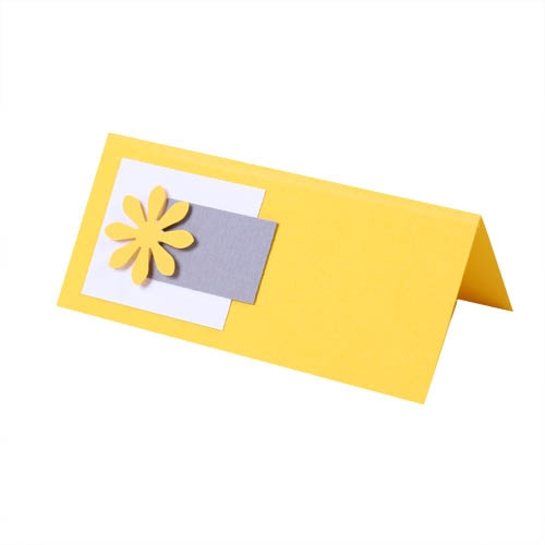 Tischkarte Frühling in Gelb/Grau Bild 1