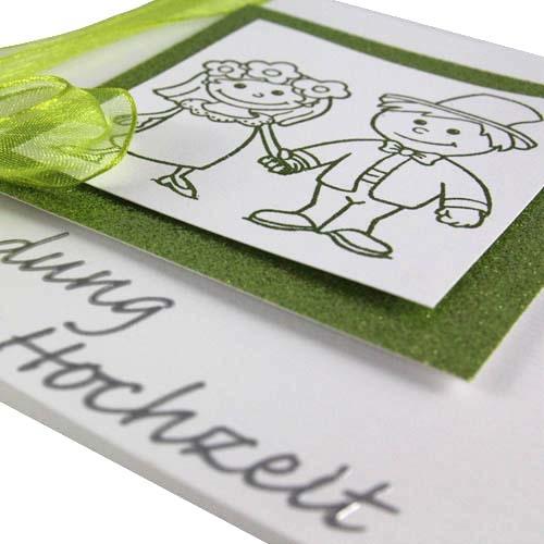 Toll Einladungskarten Hochzeit Grun #21: Einladungskarte Zur Hochzeit In Weiß/ Grün