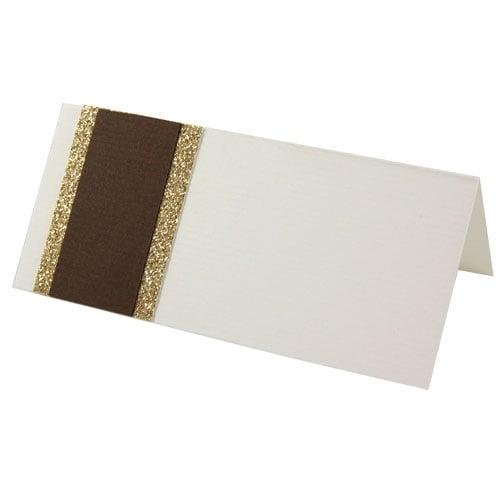 Tischkarte zur Hochzeit in Braun/Gold Bild 1