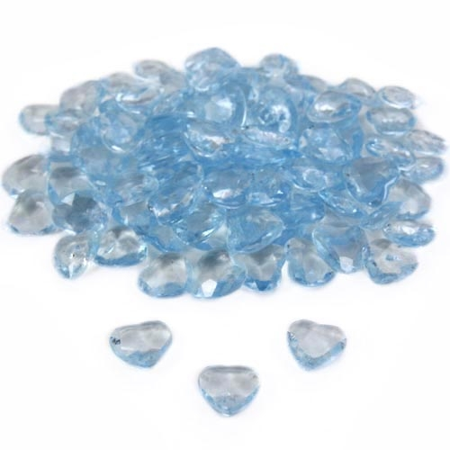 100 Deko Diamantherzen in Blau