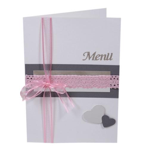 Menükarte zur Silbernen Hochzeit in Rosa/Grau Bild 1