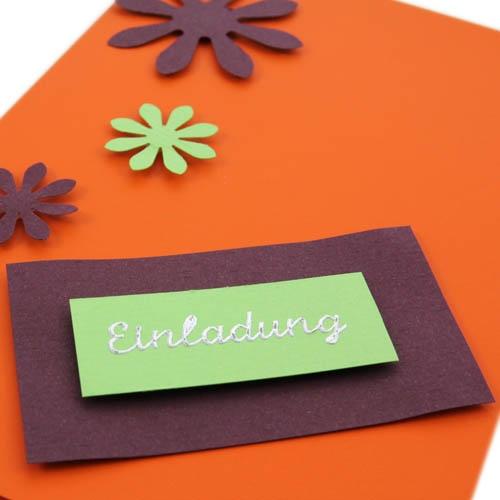 Einladungskarte sommer in orange tafeldeko for Tafel deko