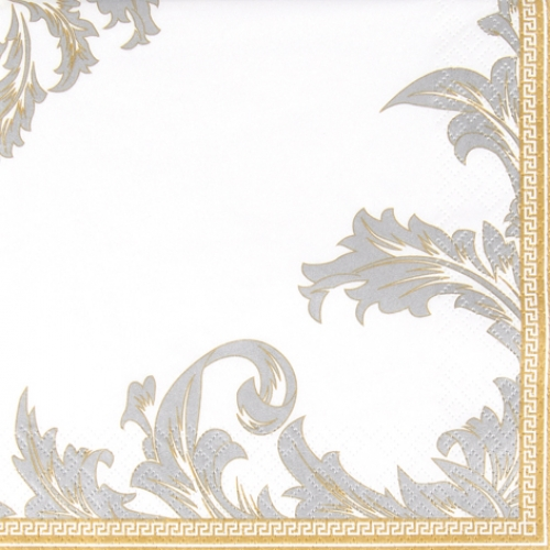 20er Pack Servietten Ornamentmotiv in Gold/Silber, 33 x 33 cm.