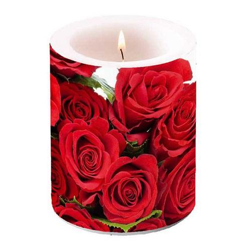 gro e lampion stumpenkerze rote rosen. Black Bedroom Furniture Sets. Home Design Ideas