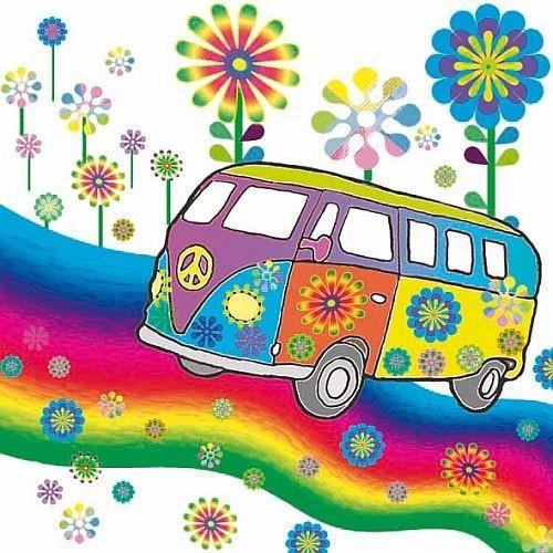 20er Pack Servietten Hippie 33 x 33 cm Bild 1