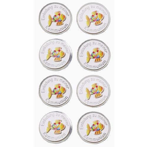 Klebe Sticker Regenbogen Fisch -Einladung zu meiner Kommunion- in Silber | Tafeldeko
