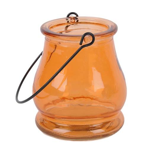 Glas windlicht in orange zur gartendeko ebay - Glas gartendeko ...
