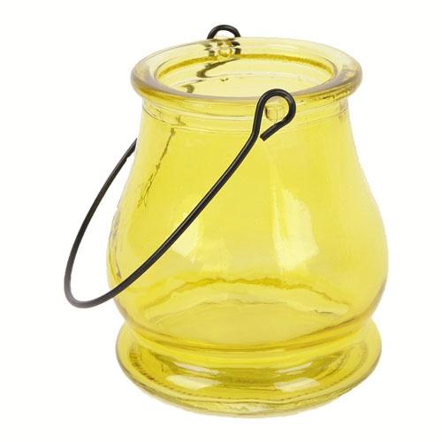 Glas windlicht in gelb zur gartendeko tafeldeko - Glas gartendeko ...