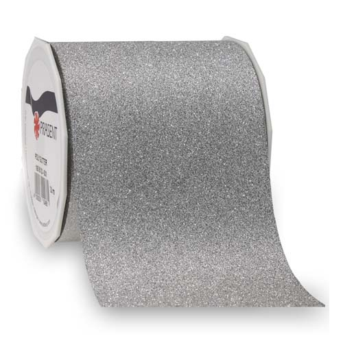 20 meter tischband weihnachten glitter in silber 90 mm. Black Bedroom Furniture Sets. Home Design Ideas