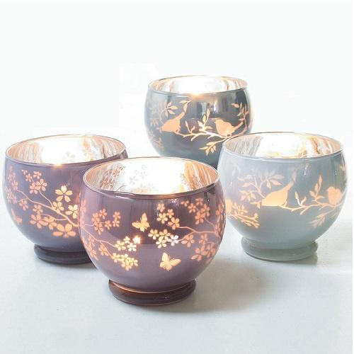Teelichtglas rund verspiegelt in wei 70 mm for Dekosteine rund
