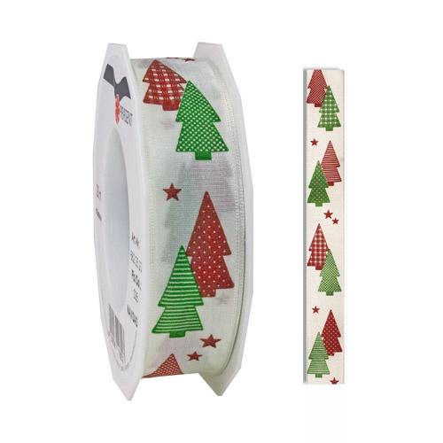 20 meter weihnachtsband geschenkband tannenbaum in rot gr n 25 mm. Black Bedroom Furniture Sets. Home Design Ideas