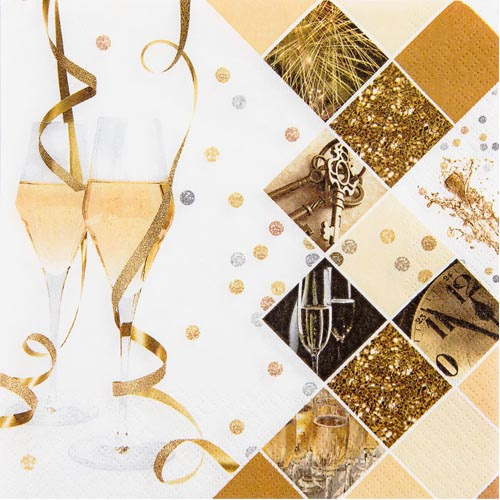 20er Pack Servietten Silvester Mix, 33 x 33 cm